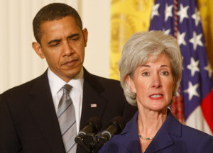 Pres. Obama and HHS Secretary Kathleen Sebelius