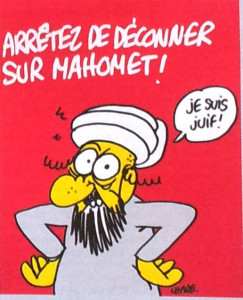 "The caption reads: ""Stop insulting Mohammed. I am Jewish."""