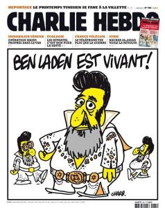"""Bin Laden is alive!"" and features Osama Bin Laden dressed as Elvis."
