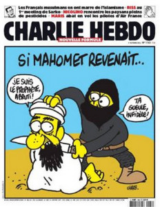 "The cartoon features a member of ISIS about to behead Mohammed and calling him an infidel. The caption reads, ""If Mohammed were to return . . ."""