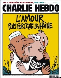 """Love is stronger than hate,"" and features a Muslim man kissing a Charlie Hebdo cartoonist."