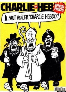 "A Jew, the Pope, and an Islamic fundamentalist all shouting, ""Charlie Hebdo must be veiled."""